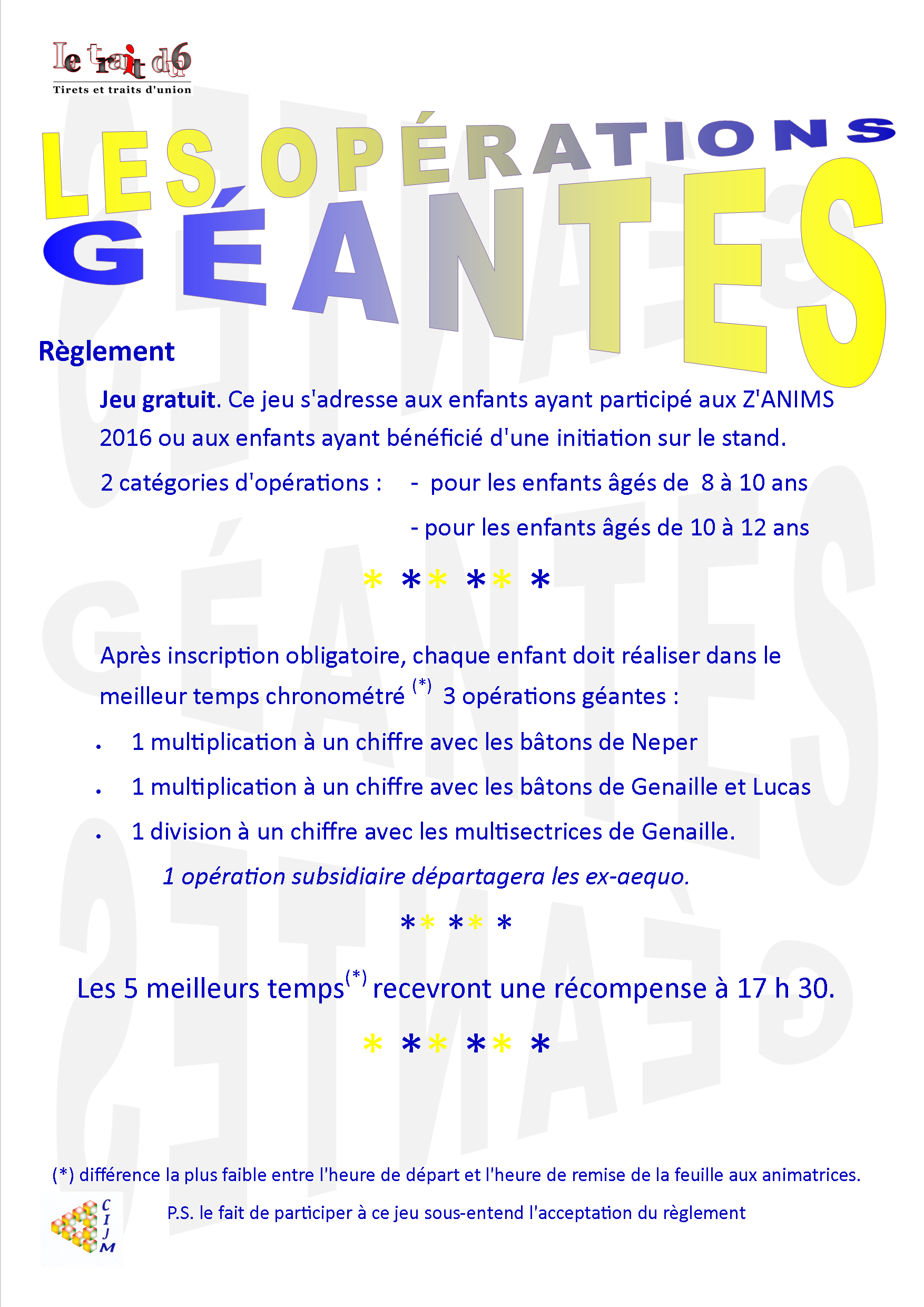 REGLEMENT OPERATIONS GEANTES